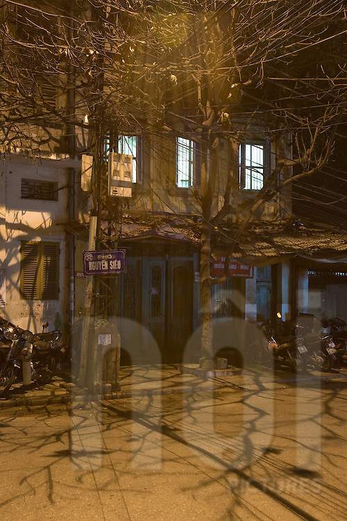 Nguyen Sieu street at night. Tree shadows run over the bitumen. Hanoi, Vietnam, Asia