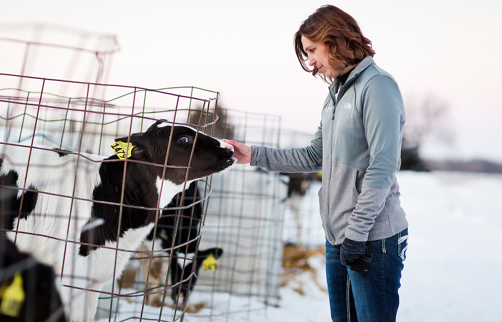 "ELDORADO, WI – FEBRUARY 2: Janet Clark pets a young calf at Vision Aire Farms on February 2, 2017. Clark reached out to Senator Tammy Baldwin (D-WI) for assistance regarding companies using of the word ""milk"" to describe plant-based beverages such as soy milk and almond milk."