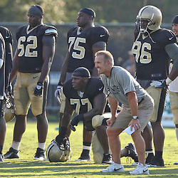 July 29, 2012; Metairie, LA, USA; New Orleans Saints defensive coordinator Steve Spagnuolo watches team drills during a training camp practice at the team's practice facility. Mandatory Credit: Derick E. Hingle-US PRESSWIRE