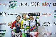 Caroline Buchanan, Australia, with 2nd and Third Place on the Winners Podium BMXMX World Cup Finals at  at the Manchester Arena, Manchester, United Kingdom on 19 April 2015. Photo by Charlotte Graham.