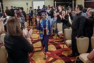 6月13日,美国洛杉矶,一名毕业生进入毕业典礼会场。美当日,美国大学预备高中 (AUP)举办该校第一届毕业典礼,共十二名毕业生。新华社发 (赵汉荣摄)<br /> Students of American University Preparatory School participate in a graduation ceremony at a hotel in downtown Los Angeles, the United States, on Saturday, May 27, 2017. American University Preparatory School is a private, for-profit, four-year, co-educational boarding and day college preparatory high school for grades 9-12 located in Los Angeles, California, at the center of downtown Los Angeles. (Xinhua/Zhao Hanrong)