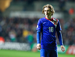 SWANSEA, WALES - Tuesday, March 26, 2013:  Croatia's Luka Modric during the 2014 FIFA World Cup Brazil Qualifying Group A match against Wales at the Liberty Stadium. (Pic by Kieran McManus/Propaganda)