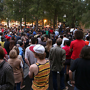 A crowd of about 800 people gather during an Occupy Orlando public demonstration in support of Occupy Wall Street gatherings across the country, at the Orange County History Center on Wednesday, October 5, 2011 in Orlando, Florida. (AP Photo/Alex Menendez)