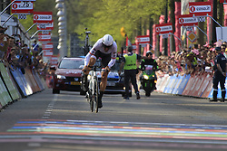 Fabian Cancellara (SUI) Trek-Segafredo approaches the finish line of Stage 1 of the 2016 Giro d'Italia, an individual time trial of 9.8km around Apeldoorn, The Nethrerlands. 6th May 2016.<br /> Picture: Eoin Clarke | Newsfile<br /> <br /> <br /> All photos usage must carry mandatory copyright credit (© Newsfile | Eoin Clarke)