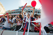 Amidst balloons, noisemakers, ribbons and confetti, members of the Union Ultras supporters group cheer during the second half of the final game of the Chivas USA franchise at the StubHub Center in Carson, Calif., on Oct. 26, 2014.