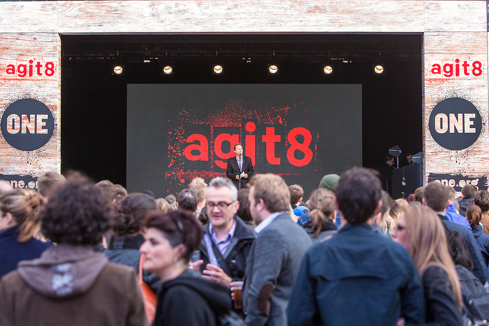 The ONE Agit8 campaign, outside Tate Modern, London.