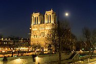 France. Paris. 5th district. Elevated view.  Notre Dame cathedral and the Seine river bridge. view from the Hotel Notre Dame