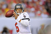 Tampa Bay Buccaneers quarterback Josh Freeman (5) looks upfield during the Bucs game against the New Orleans Saints at Raymond James Stadium on Sept. 15, 2013 in Tampa, Florida. <br /> &copy;2013 Scott A. Miller