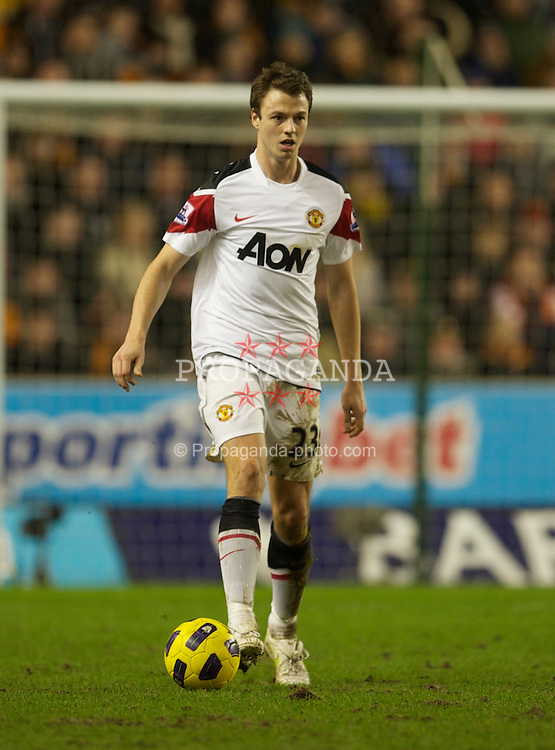 WOLVERHAMPTON, ENGLAND - Saturday, February 5, 2011: Manchester United's Jonathan Evans in action against Wolverhampton Wanderers during the Premiership match at Molineux. (Photo by David Rawcliffe/Propaganda)