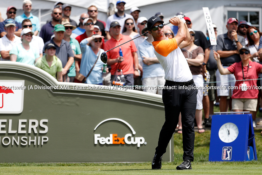 CROMWELL, CT - JUNE 24: Paul Casey of England  on the first tee during the third round of the Travelers Championship on June 24, 2017, at TPC River Highlands in Cromwell, Connecticut. (Photo by Fred Kfoury III/Icon Sportswire)