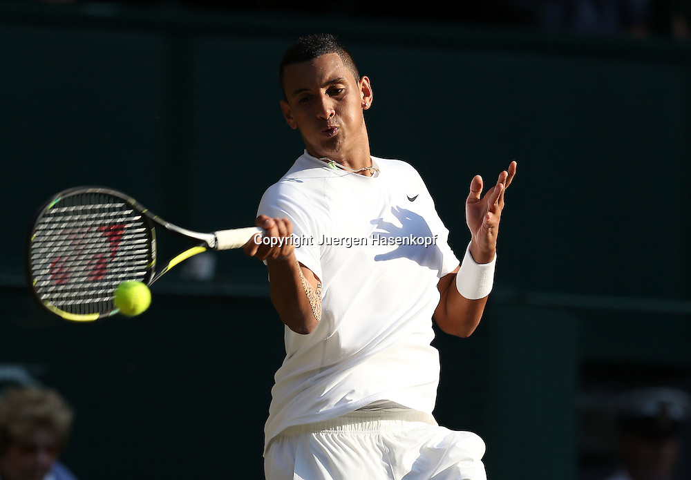 Wimbledon Championships 2014, AELTC,London,<br /> ITF Grand Slam Tennis Tournament,<br /> Nick Kyrgios (AUS),Aktion,Einzelbild,Halbkoerper,Querformat,