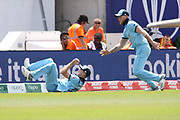 Stokes and Wokes fail to stop a boundary  during the ICC Cricket World Cup 2019 warm up match between England and Australia at the Ageas Bowl, Southampton, United Kingdom on 25 May 2019.