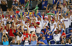 March 11, 2017 - Miami, FL, USA - Fans show their support during the second inning of a World Baseball Classic first round Pool C game between the Dominican Republic and the United States at Marlins Park in Miami on Saturday, March 11, 2017. (Credit Image: © David Santiago/TNS via ZUMA Wire)