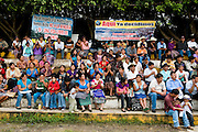 Crowds celebrate of the third anniversary of the declaration of the department of Huehuetenango as being 'Free of Mines'. The event was organised by the Assembly for the Defence of the Territory (ADH). Jacaltenango, Guatemala, October 2011.