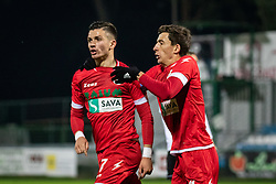 Tilen Pečnik of Aluminij and Leko Nikola of Aluminij celebrating during football match between NŠ Mura and NK Aluminij in 17th Round of Prva liga Telekom Slovenije 2019/20, on November 10, 2019 in Fazanerija, Murska Sobota, Slovenia. Photo by Blaž Weindorfer / Sportida