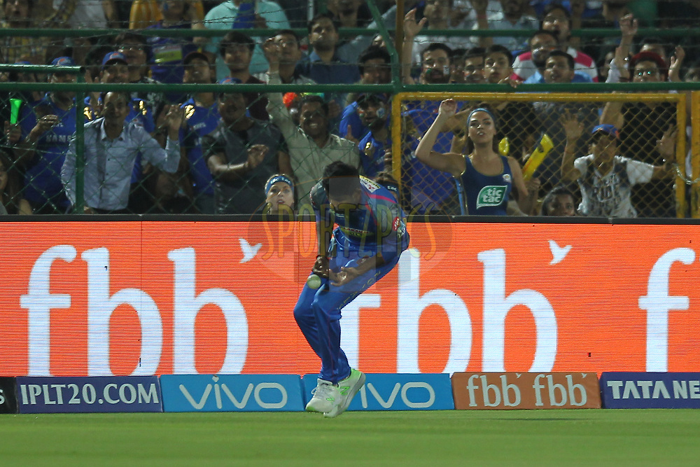 Gowtham Krishnappa of the Rajasthan Royals drops catch during match twenty one of the Vivo Indian Premier League 2018 (IPL 2018) between the Rajasthan Royals and the Mumbai Indians held at the The Sawai Mansingh Stadium in Jaipur on the 22nd April 2018.<br /> <br /> Photo by: Deepak Malik / IPL/ SPORTZPICS