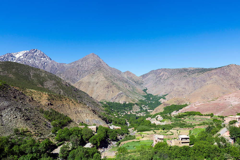 Berber villages and landscapes around Armed Village - the highest village in the Mizane Valley located at the base of Mnt Toubkal, High Atlas Mountains, Morocco