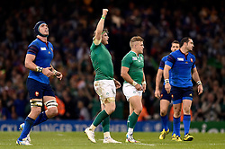 Jamie Heaslip of Ireland celebrates at the final whistle - Mandatory byline: Patrick Khachfe/JMP - 07966 386802 - 11/10/2015 - RUGBY UNION - Millennium Stadium - Cardiff, Wales - France v Ireland - Rugby World Cup 2015 Pool D.