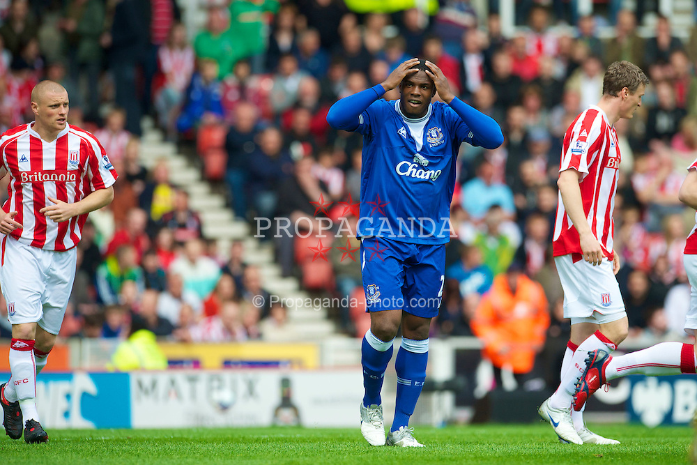 STOKE, ENGLAND - Saturday, May 1, 2010: Everton's Victor Anichebe rues a missed chance against Stoke City during the Premiership match at Britannia Stadium. (Photo by David Rawcliffe/Propaganda)