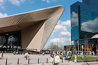 Rotterdam central station has been redeveloped . Workers clean up before the official opening. A collaboration of  benthem crouwel architects, MVSA architects and west 8 architects.