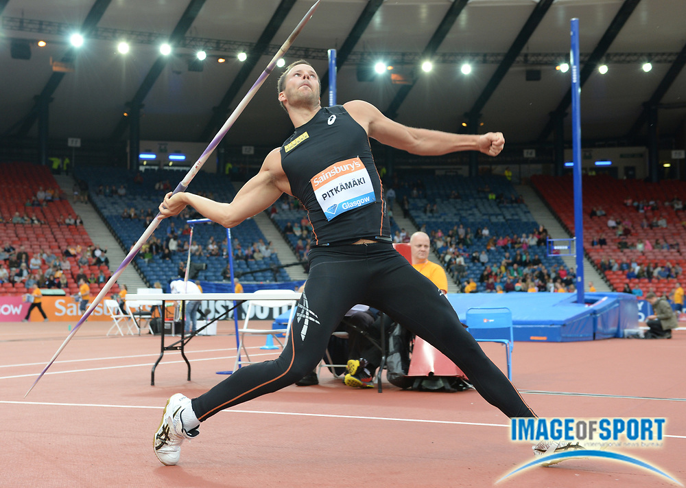 Jul 12, 2014; Glasgow, Scotland; Tero Pitkamaki (FIN) places third in the javelin at 278-8 (84.95m) in the 2014 Sainsbury's Glasgow Grand Prix at Hampden Park Stadium. Photo by Jiro Mochizuki