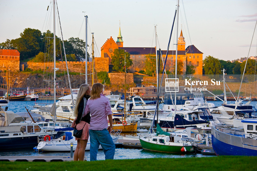 Fortress Akershus and boats moored in the bay, Oslo, Norway