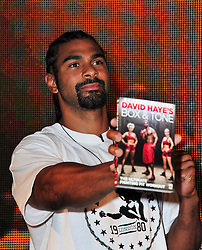 David Haye signing.  Former World Boxing Champion and I'm A Celebrity star at flagship HMV store to sign copies of his fitness DVD, David Haye's Box & Tone. HMV Oxford Circus, London, United Kingdom, January 7, 2013. Photo by Nils Jorgensen / i-Images.