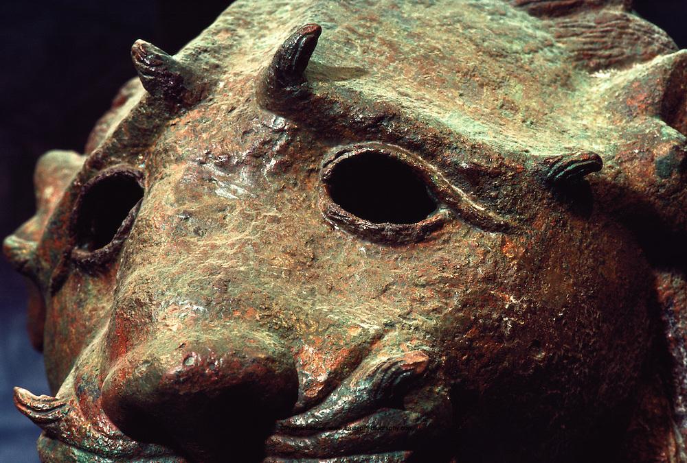 Wistful bronze lion's head was cast between second century B.C. -third A.D. Najran, Saudi Arabia