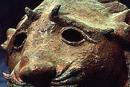 Wistful bronze lion's head was cast between second century B.C. -third A.D. Najran, Saudi Arabia