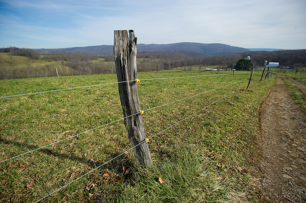 Wooden post holds wire encircling field.