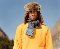 African American man with green eyes outdoors in Winter