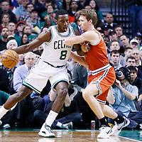 21 December 2012: Boston Celtics power forward Jeff Green (8) posts up Milwaukee Bucks small forward Mike Dunleavy (17) during the Milwaukee Bucks 99-94 overtime victory over the Boston Celtics at the TD Garden, Boston, Massachusetts, USA.