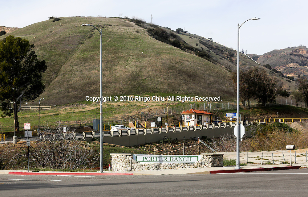 The entrance of the Southern California Gas Company, Aliso Canyon storage facility at the Porter Ranch area.<br /> (Photo by Ringo Chiu/PHOTOFORMULA.com)<br /> <br /> Usage Notes: This content is intended for editorial use only. For other uses, additional clearances may be required.