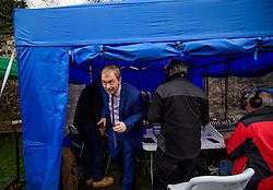 © Licensed to London News Pictures. 08/03/2017. London, UK. Liberal Democrat leader TIM FARRON leaves a radio tent after speaking to media outside The House of Parliament in London, on the day that  British chancellor Philip Hammond delivers his 2017 Budget to Parliament. Photo credit: Ben Cawthra/LNP