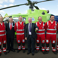 Scotland's Charity Air Ambulance (SCAA) launches from Perth Airport....22.05.13<br /> From left, Andy Walker, David Garbutt, John Pritchard, Alex Neil, Bruce Rumgay, Alex Holden and Wayne Auten<br /> Picture by Graeme Hart.<br /> Copyright Perthshire Picture Agency<br /> Tel: 01738 623350  Mobile: 07990 594431