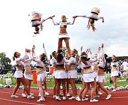 25.07.2010, Wetzlar Stadion, Wetzlar, GER, Football EM 2010, Team Sweden vs Team France, im Bild Stunt der Cheerleader,  EXPA Pictures © 2010, PhotoCredit: EXPA/ T. Haumer / SPORTIDA PHOTO AGENCY