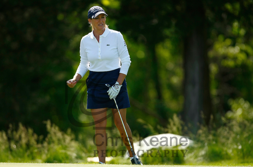17 May 2012: Cristie Kerr reacts to her chip shot to the 17th green during the first round of match play at the Sybase Match Play Championship at Hamilton Farm Golf Club in Gladstone, New Jersey on May 17, 2012.  (Photo by Chris Keane - www.chriskeane.com)