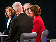 """14 JANUARY 2020 - DES MOINES, IOWA: US Senator AMY KLOBUCHAR talks to CNN anchors and analysts in the """"spin room"""" after the CNN Democratic Presidential Debate on the campus of Drake University in Des Moines. This is the last debate before the Iowa Caucuses on Feb. 3.    PHOTO BY JACK KURTZ"""