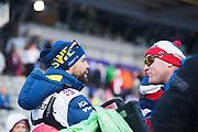 LAHTIS, FINLAND - 2017-03-04: Rikard Grip och Roar Hjelmeset under damernas 30 km mass start under FIS Nordic World Ski Championships den 4 mars , 2017 i Lahtis, Finland. Foto: Nils Petter Nilsson/Ombrello<br /> ***BETALBILD***