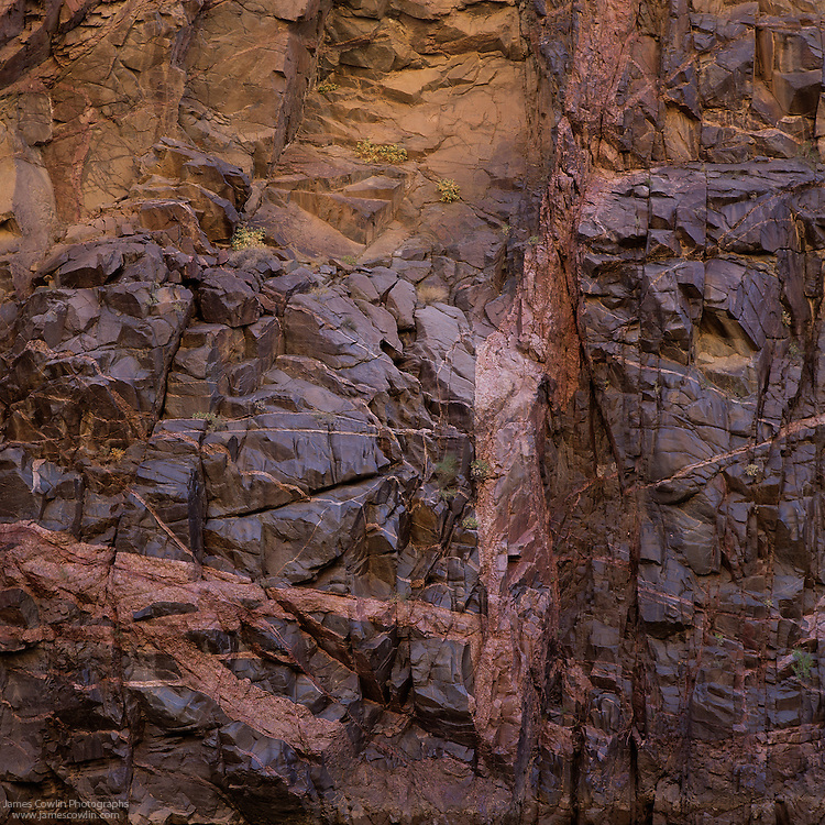 Vishnu Schist and Zoroaster Granite in Granite Gorge in Grand Canyon, Arizona