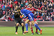 Middlesbrough FC Goalkeeper Dimitrios Konstantopoulos (1) claims the ball  during the Sky Bet Championship match between Middlesbrough and Nottingham Forest at the Riverside Stadium, Middlesbrough, England on 23 January 2016. Photo by George Ledger.