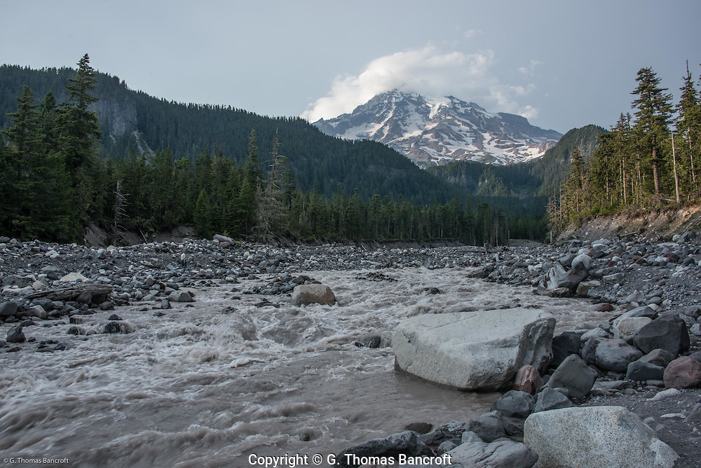 Mt Rainer from crossing of Nisqually River to hike Paradise River Trail.
