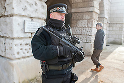 © Licensed to London News Pictures. 22/01/2015. London, UK. An armed Ministry of Defence (MOD) police officer on Horseguards amongst tourists and visitors during the changing of the guard. Armed police officers in and around central London today 22 January 2015. UK Foreign Secretary Philip Hammond said that ISIS is the greatest threat to the UK's security at the moment. Photo credit : Stephen Simpson/LNP