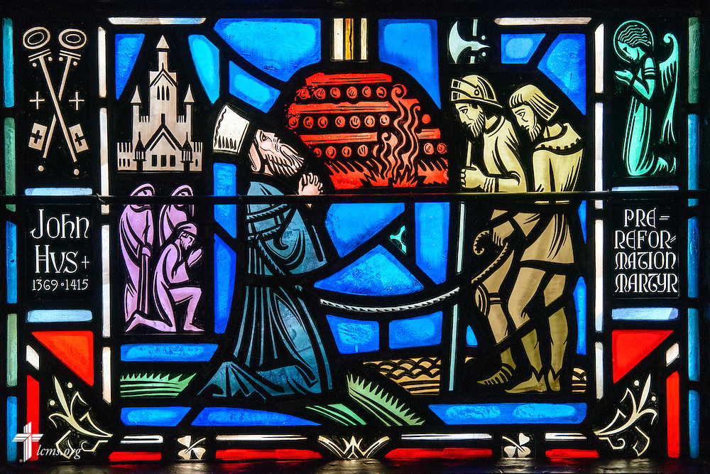 Stained glass at Luther Memorial Chapel depicts John (Jan) Hus, 1369-1415, on Friday, Jan. 29, 2016, in Shorewood, Wis. LCMS Communications/Erik M. Lunsford