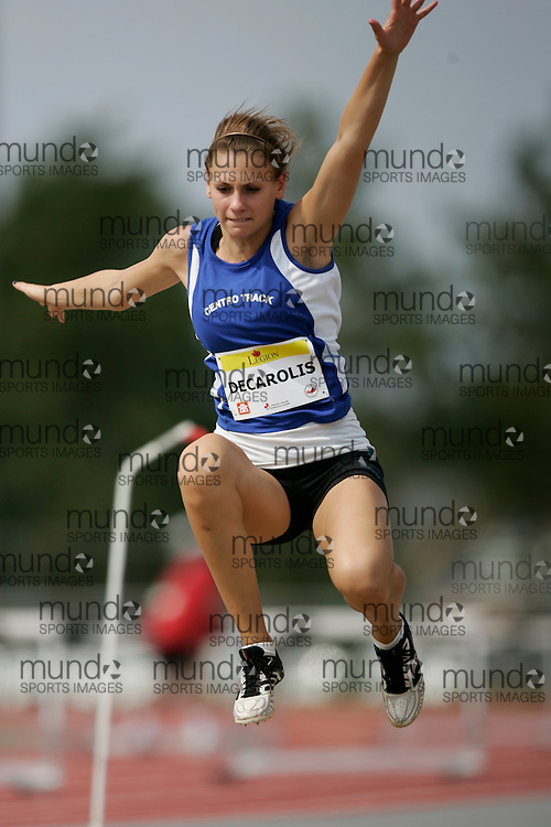 Ottawa, Ontario ---10-08-08--- Decarolis competes in the Long Jump at the 2010 Royal Canadian Legion Youth Track and Field Championships in Ottawa, Ontario August 8, 2010..GEOFF ROBINS/Mundo Sport Images.