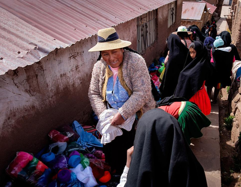 TAQUILE, PERU - CIRCA OCTOBER 2015:  Local market in the Island of Taquile in Lake Titicaca.