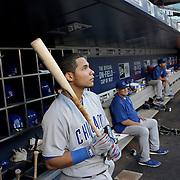 NEW YORK, NEW YORK - June 30: Catcher Willson Contreras #40 of the Chicago Cubs in the dugout preparing to bat during the Chicago Cubs Vs New York Mets regular season MLB game at Citi Field on June 30, 2016 in New York City. (Photo by Tim Clayton/Corbis via Getty Images)