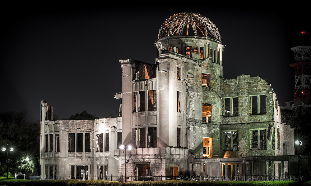 Hiroshima Peace Memorial (広島平和記念碑 Hiroshima heiwa kinenhi), commonly called the Atomic Bomb Dome or Genbaku Dōmu (原爆ドーム?, A-Bomb Dome), in Hiroshima, Japan, is part of the Hiroshima Peace Memorial Park and was designated a UNESCO World Heritage Site in 1996. The ruin serves as a memorial to the people who were killed in the atomic bombing of Hiroshima on 6 August 1945. Over 70,000 people were killed instantly, and another 70,000 suffered fatal injuries from the radiation.