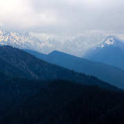Scenic vista of the Olympic Mountains - Olympic National Park, WA