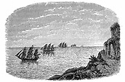Curvature of Earth. Because Earth is curved, distant objects seem to sink below the horizon. Wood engraving c1880.